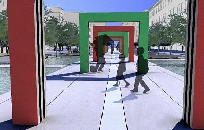 Arch.-Giannantonio-Vannetti-e-artista-Daniel-Buren-Piazza-Verdi-A